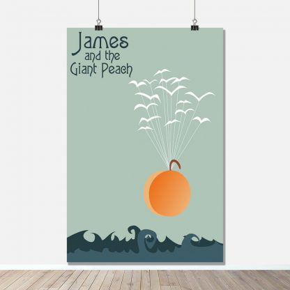 Flight of the Peach - James and the Giant Peach - Movie Book Quotes Art Print - FADE Grafix